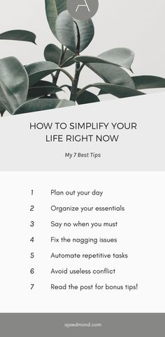 7 Best Tips to Simplify Your Life Right Now | Small Changes, Big Impact. Read the post and learn more about the 52 week minimalist challenge, a full year of unique and actionable simple living ideas.