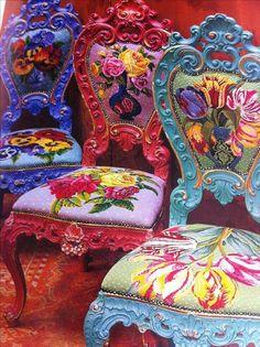 Kaffe Fassett - needlepoint and painted chairs Funky Furniture, Painted Furniture, Entryway Furniture, Furniture Vintage, Vintage Chairs, Contemporary Furniture, Luxury Furniture, Vintage Decor, Furniture Design