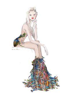 Fashion Illustration BEADS BEADS BEADS by Savannah Shreves www.wix.com/savannahshreves/portfolio