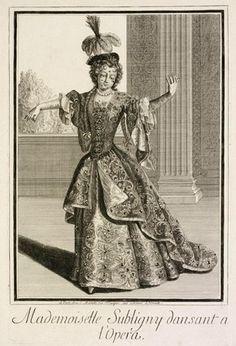 Figure 2 - Engraving, Mademoiselle Subligny Dansant a l'Opera, Jean Mariette (publisher), Paris, about 1688-1709. Museum no. 4956-1968