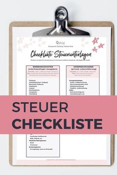 Steuer Checkliste kostenlos herunterladen – Finance tips, saving money, budgeting planner Money Saving Tips, Ways To Save Money, Savings Planner, Budget Planer, Making A Budget, Budgeting Worksheets, Finance Organization, Document, Finance Tips