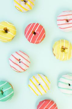 Striped Donuts for birthday party. Perfect palette for summer fun. Yummy Treats, Sweet Treats, Yummy Food, Homer Simpson, How Sweet Eats, Bunt, Love Food, Sweets, Make It Yourself