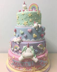 Unicorn cake- great first birthday cake Pretty Cakes, Cute Cakes, Beautiful Cakes, Amazing Cakes, Baby Cakes, Fondant Cakes, Cupcake Cakes, Sweets Cake, Super Torte