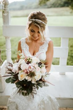 Bridal hairstyle with a beaded headband, easy up-do, wavy hair // Caitlin Steva Photography