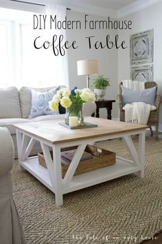 How to build a DIY Modern Farmhouse Coffee Table, Classic square coffee table with painted base and rustic stained table top, complete with bottom shelf for storage. Perfect for living rooms with sectionals! Farmhouse Table Plans, Farmhouse Furniture, Rustic Furniture, Diy Furniture, Rustic Farmhouse, Industrial Farmhouse, Farmhouse Lighting, Modern Farmhouse Table, Farmhouse Living Room Furniture