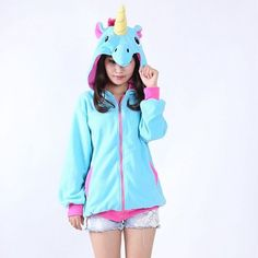 Kawaii Anime Blue Pink Candy Unicorn Hoodies Animal Horse Hoodie Women Men Costume Adult Sweatshirt Jacket Hoody with Ears