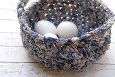 Cesta de Pascua crochet con manijas cesta azul rústico por OdPaAm