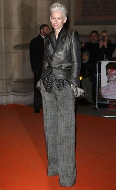 The ever stylish Tilda Swinton dressed in Haider Ackermann at the David Bowie exhibition