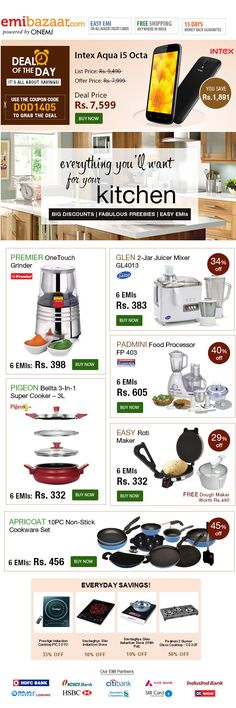 Shop Everything You'll Want For Your Kitchen on EMI! Cook in Style!! Emibazaar.com