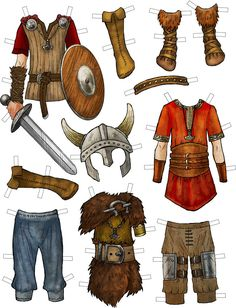 Example of Ragnar Lothbrok clothes from Vikings of Legend and Lore Paper Dolls Book by Kiri Østergaard Leonard.