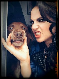 Lana Parrilla and her dog, Lola.  Ouat bts