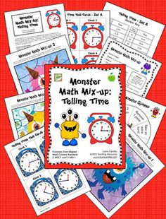 Monster Math Mix-up: Telling Time Game (Common Core Aligned) - An engaging partner game to help students review and practice telling time to the nearest 5 minutes or to the nearest minute. During the game, players attempt to be the first to assemble a complete monster puzzle. Players earn puzzle pieces for correctly writing the times on the clock task cards. $ Common Core Aligned 2.MD.7 and 3.MD.1