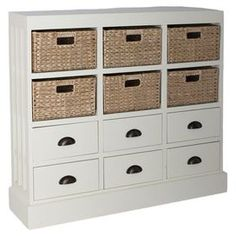 "Equally at home in coastal-inspired rooms or country-chic spaces, this 6-drawer chest features apothecary-style handles and 6 hand-woven baskets.  Product: ChestConstruction Material: Wood, wicker and metalColor: Cream and naturalFeatures:  Six hand-woven baskets includedSix drawersApothecary style handles Dimensions: 36"" H x 46"" W x 10"" D"
