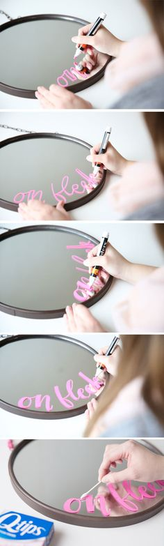 On fleek! Spruce up a basic bathroom mirror with a quirky phrase and a paint pen. Click through for more #diy bathroom ideas like this one, in partnership with @qtips. #QtipsHack #ad