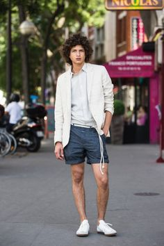 Best combination: Shots & Blazer. Cotton Linen Shorts with Stripes. Formal shorts with French pockets and billet pocket made of a high-quality Italian cotton linen mix with cross stripes. Light wash.