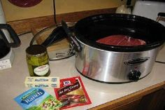 This is so darn EASY and wait until you Taste it!! 1. Buy a chuck roast. 2. Put it in the crock pot. 3. Sprinkle Hidden Valley ranch dressing on top 4. Sprinkle McCormick Au Jus mix on top. Put a stick of butter on top. Put about 5 pepperoncini peppers on top. (You buy …