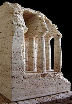 SPACE WITH DORIC COLUMNS  Travertine  2005 Height 64cm