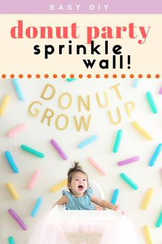 This DIY Sprinkle Wall is perfect for any party! You can have this colorful sprinkle backdrop for various themed parties: donut, ice scream, colorful, unicorn, rainbow, dessert, pride, and more! Donut Birthday Parties, Donut Party, Themed Parties, Party Themes, Party Ideas, Kid Parties, 5th Birthday, Birthday Ideas, Diy Donuts