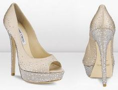 jimmy choo inspired ivory peep toe shoe has clear crystal covered heel, crystal trim around shoe, and a pattern trim on upper. please email about your dream shoe! Check out this item to see more pictures and get more details Dream Shoes, Crazy Shoes, Me Too Shoes, Best Bridal Shoes, Wedge Wedding Shoes, Designer Wedding Shoes, Sparkly Shoes, Bling Heels, Bling Bling