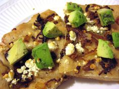 Pizza with Carmelized Onion, Feta and Avocado