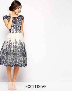 Image 1 ofChi Chi London Premium Embroidered Lace Prom Dress with Bardot Neck