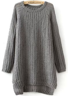 Shop Grey Long Sleeve Split Loose Knit Sweater online. Sheinside offers Grey Long Sleeve Split Loose Knit Sweater & more to fit your fashionable needs. Free Shipping Worldwide!