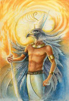 """Hórus, para os antigos egípcios, é considerado a encarnação de Rá na Terra, a manifestação solar no plano material, o princípio do fogo. Hórus era a """"encarnação do dia"""" , aquele que venceu o deus Seth (representação do mal) heroicamente, na luta entre o bem e o mal, fazendo vencer a luz. Por isso seu nome está associado ao heroísmo."""