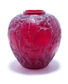 René Lalique 'Perruches' a Vase, design 1919 blood red glass, frosted and heightened with white staining 24.8cm high