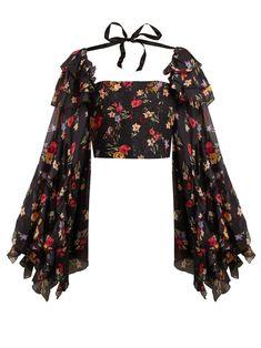 Rodarte – Square Neck Floral Print Silk Blend Blouse – Womens – Black Multi – Daily Posts for Women Black Women Fashion, Look Fashion, Womens Fashion, Fashion Design, Fashion Goth, Fashion Quiz, Gypsy Fashion, Fashion Weeks, Milan Fashion