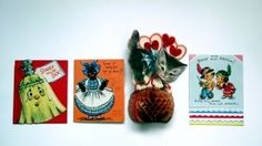 day 53 – four vintage cards – happy valentines day, get well soon, and racial stereotypes