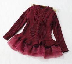 "The ""Lana"" Sweater Tutu Dress in Wine"