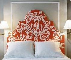 Find 34 creative headboard ideas to DIY at home on domino. Learn how to make a DIY headboard with ideas from domino. Red Headboard, Headboard Shapes, Headboard Designs, Headboards For Beds, Headboard Ideas, Tapestry Headboard, Bedroom Designs, Unique Headboards, Custom Headboard