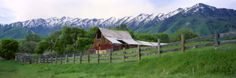 Barn below Wellsville Mountains, Mendon, Cache Valley, Utah, USA Photographic Print by Scott T. Smith at AllPosters.com