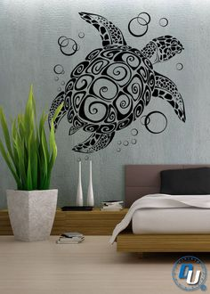 Sea Turtle - Removable Vinyl Wall Decal Art Decor Sticker Mural Modern Animal. $39.99, via Etsy.