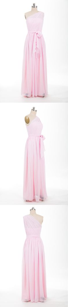 one shoulder long chiffon blush bridesmaid dresses
