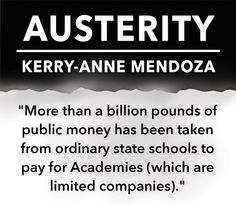 Austerity by Kerry-anne Mendoza may be one of the most important books you will ever read, as it helps to give a voice to campaigns of resistance, and democratic alternatives. #inequality #austerity #election2015