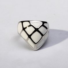 Stainless Steel Ring, Steel Ring, Statement Ring, Art Deco Ring, Weird Ring, Edgy Ring, Funky Jewelry with Enamel Pattern