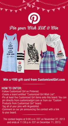 Pinterest Wish List Contest Customized Girl #contest #christmas #wishlist #cgwishlist