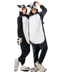 Lemur Kigurumi Onesie Pajamas Soft Flannel Unisex Animal Costumes