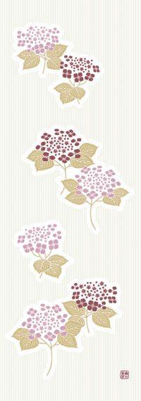 Japanese washcloth, Tenugui 手ぬぐい 額紫陽花ピンク hydrangeas