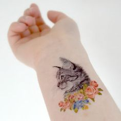 Cat in flowers temporary tattoo - Ink, Kitten, Colourful, Woodland, Roses, Vintage