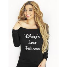 Disney's Lost Princess Sweatshirt Off Shoulder Sweatshirt Wide Neck... ($25) ❤ liked on Polyvore featuring tops, hoodies, sweatshirts, black, women's clothing, wide neck top, wide neck sweatshirt, lightweight sweatshirts, off shoulder tops and fleece sweatshirt