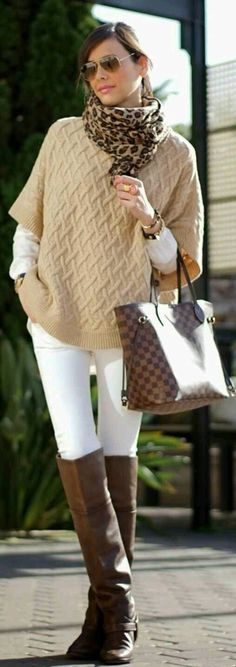 Cute winter outfit,white skinny pants,brown flat boots,light brown sweater,love the leopard scarf and the LV bag.