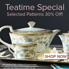 Selected teatime items are 30% off! http://noritakechina.com/teatime.html #noritake #sale #registry #gifts #teatime #tablescapes