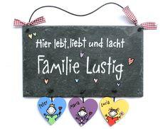 Tür- & Namensschilder - Schiefer/Holz Türschild HAPPY FAMILY Herz - ein Designerstück von Schieferheld bei DaWanda