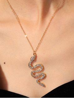 May 2020 - Rhinestone Snake Pendant Chain Necklace - Gold Stylish Jewelry, Cute Jewelry, Gold Jewelry, Jewelery, Jewelry Accessories, Jewelry Necklaces, Women Jewelry, Trendy Fashion Jewelry, Trendy Necklaces
