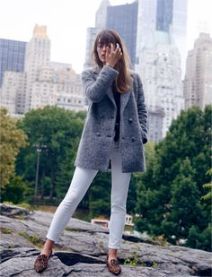"madewell et sézane® octave blazer coat worn with the madewell et sézane® 9"" high-rise skinny skinny jeans + animal print lou loafer."