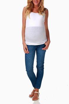 Blue Anchor Polka Dot Print Maternity Jeans