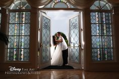 Couple shares a sweet moment between the doors of Disney's Wedding Pavilion