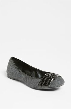 Franco Sarto 'Ariana' Flat (Nordstrom Exclusive) In Grey -- A trio of buckled straps details an effortless flat crafted from charming flannel.